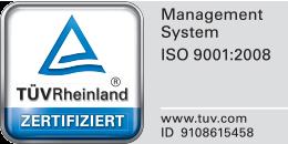 TÜV Rheinland zertifiziert – Management System ISO 9001:2008