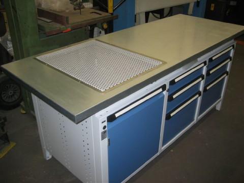 Werkbänke mit Abtropfgitter für Öle